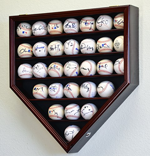 30 野球ボールディスプレイケースキャビネットホルダーラックホームプレート98 % UV保護マテリアルで設計-ロック可能