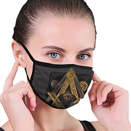 Golden Free-Mason Herren Grafik für Frauen Staubdichter waschbarer wiederverwendbarer Gesichtsschutz für Partys