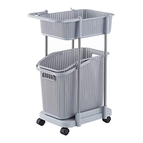 GSHWJS Wasmand met wieltjes, voor wasmachine, trolley, kunststof, 42 x 30 x 71,2 cm