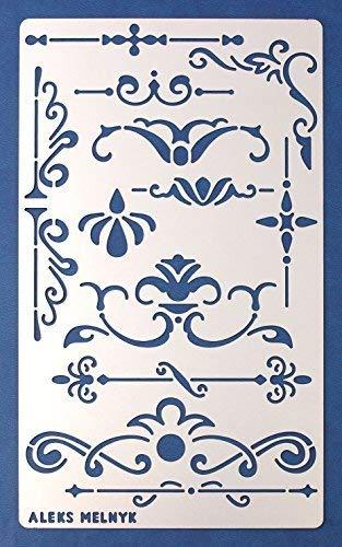 Aleks Melnyk #5 Schablone/Metall Stencil Vorlagen for Painting/Shabby Chic Vintage, Ornamente/1 Stück/DIY Kunst Projekte/Stencil für Scrapbooking und Zeichnen/Brandmalerei Schablone/Basteln