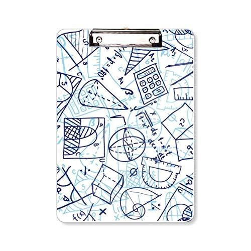Blauwe hand beschilderde rekenmachine calculator Illustratie klembord map schrijfblok achterplaat A4