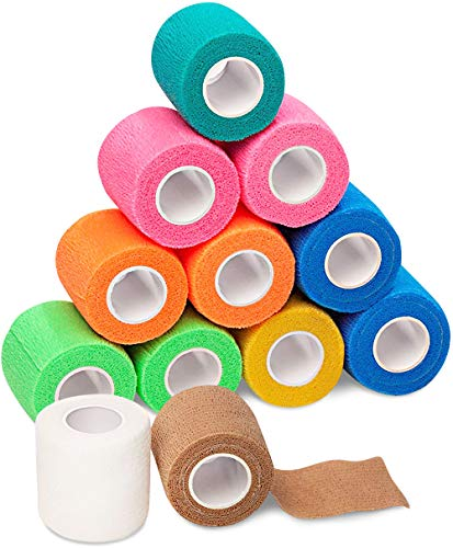 Self Adherent Cohesive Wrap Bandages - 2inch-Wide 5yds Self Adhesive Non Woven Bandage Rolls - Multi Colored Neon Athletic Tape for Wrist - Breathable Athletic Tape - Stretch Wrap Roll Bulk (12 Pack)