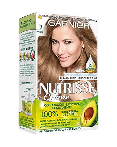 Garnier Nutrisse Creme Coloración Nutritiva Permanente, Tinte 100% Cobertura de Canas con Mascarilla Nutritiva de 4 Aceites - Tono 7 Rubio