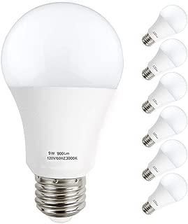 KINDEEP A19 LED Bulb, E26 Base Light Bulb 9W (60W Equivalent), Non-Dimmable, 900 Lumens, 270° Beam Angle, 3000K Warm White, 6 Packs