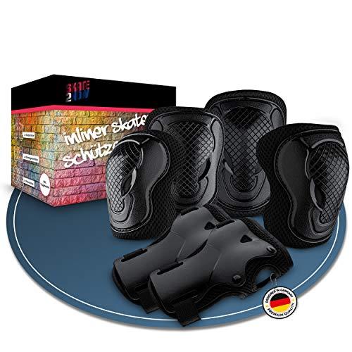 Skate2Now® Inliner Schützer für Kinder & Erwachsene – Praktisches Protektoren Set aus [2X] Knieschoner, [2X] Ellenbogenschoner & [2X] Handgelenkschoner – Verschiedene Größen - Mit Tragebeutel (Large)