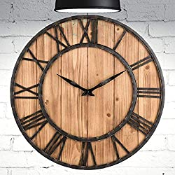 HOME GURUS Decorative-Wall-Clock Non Ticking 16 Inch Large Metal and Solid Wood Roman Numeral