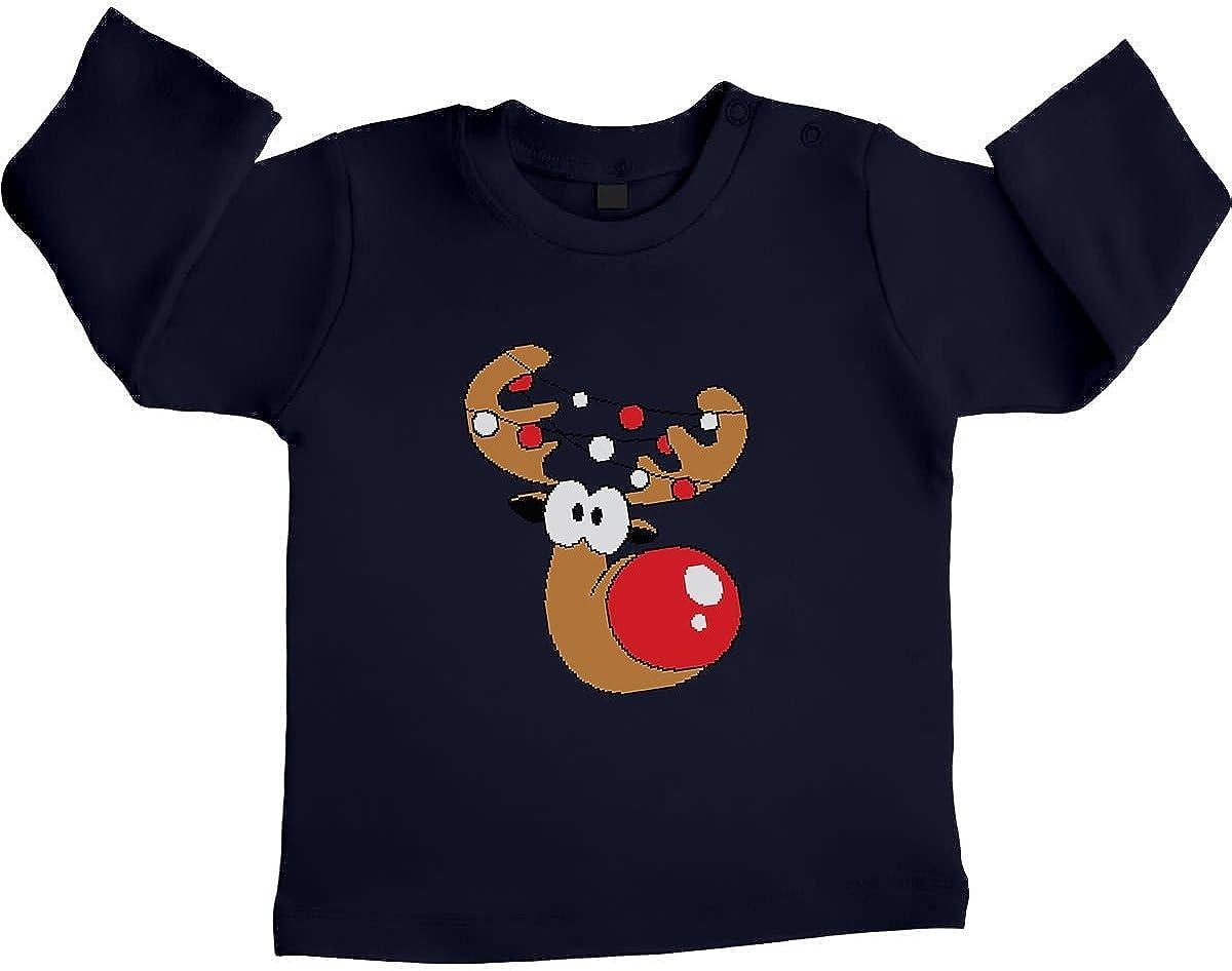 Green Turtle T-Shirts Lustiges Baby Geschenk Rudolph Lichterkette Unisex Baby Langarmshirt Gr 66-93