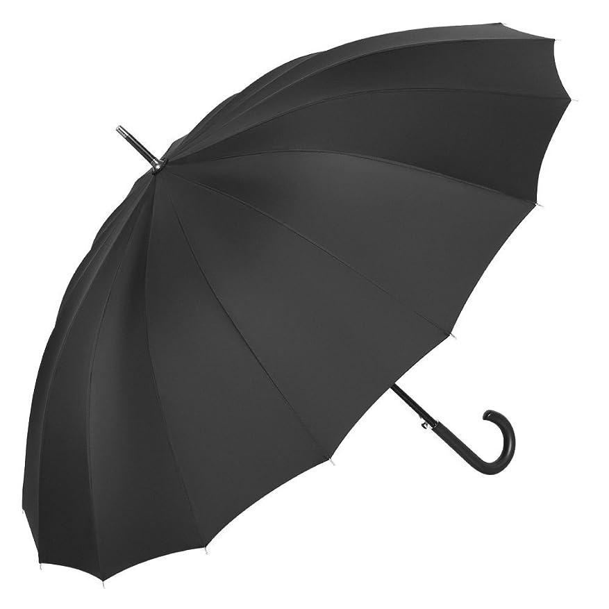 ベックス爆風繊細長傘 超軽量 耐風構造 撥水耐風 16本骨傘 丈夫 大型 自動開けステッキ傘 紳士傘 大きな傘 男性 通勤 通学