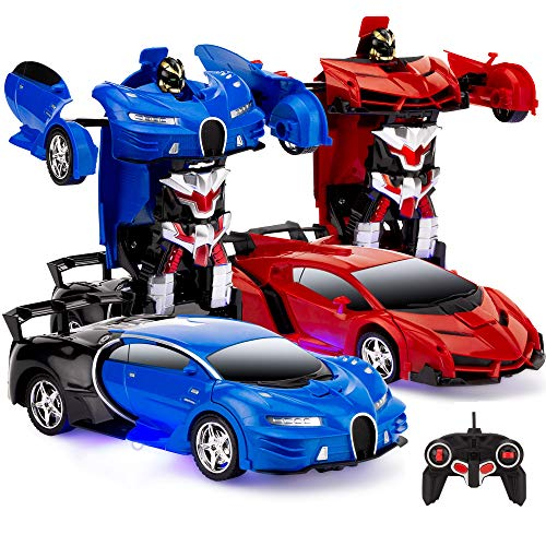 Best Choice Products Set of 2 1/18 Scale Interactive RC Remote Control Transforming Drifting Robot...
