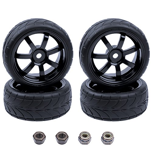 4PCS Width:1.02″ (26mm) OD 2.56″(65mm) Rubber Tires & Wheel Rims 12mm Hex Hub for 1/10 Scale RC Vehicle On Road Touring Car