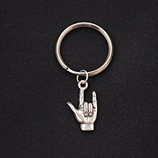I love you sign language keychain, silver american sign keychain, love charm, ASL charm, sign language key ring,I love you ASL charm