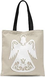 Semtomn Canvas Tote Bag Shoulder Bags Christmas Carved Openwork Angel for Laser Cutting Holiday Tree Women's Handle Shoulder Tote Shopper Handbag
