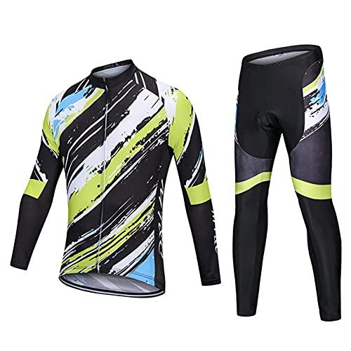 DNJKH Maillot MTB de Manga Larga y Culotte Pantalones Acolchado 9D Ropa Ciclismo Otoño/Primavera para Hombre