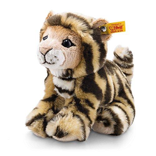Steiff Billy Tiger - 20 cm - Plüschtiger sitzend - Kuscheltier für Kinder - weich & waschbar - getigert (084102)