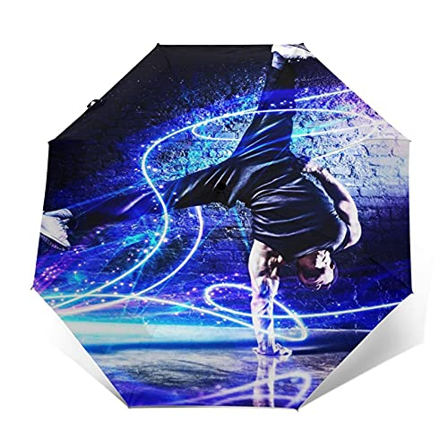 Paraguas Plegable Automático Impermeable Rotura de Hombre Fuerte bailarín Azul, Paraguas De Viaje Compacto Prueba De Viento, Folding Umbrella, Dosel Reforzado, Mango Ergonómico