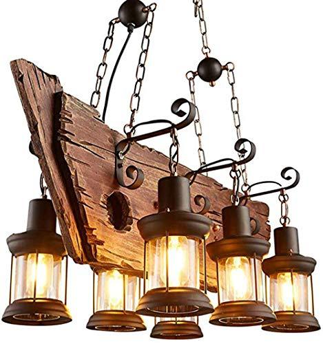Lampada a Sospensione Industriale Vintage E27 Design In Stile Navale Retrò Legno Lampadario Rustico 6 Teste Edison Per Tavolo da Pranzo Cucina Soggiorno Bar Cafe Light Ø90cm