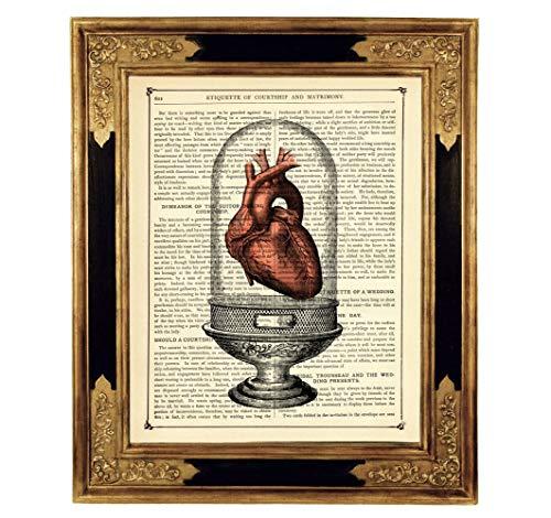 Anatomie Herz Glassturz Dom Kunstdruck auf antiker Buchseite Gothic Geschenk Hochzeit Valentinstag...