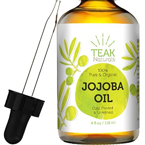 JOJOBA Oil by Teak Naturals 100% Pure Cold Pressed Natural Unrefined Moisturizer for Skin Hair and Nails 4 oz
