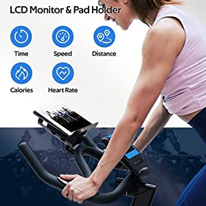 Indoor Exercise Bike, pooboo Magnetic Cycling Bike Belt Drive Indoor Stationary Bike with Tablet Holder and LCD Monitor for Home Workout