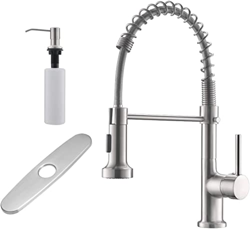 wholesale GIMILI Spring Kitchen wholesale Sink Faucet with Deck Plate & lowest Soap Dispenser,Brushed Nickel online