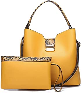Hanyuemin Women Fashion Handbags Heights Timbre Leather Hand Bag Sets Large Shoulder Bag Women Crossbody Messenger (Color...