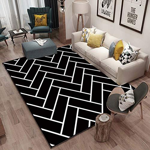 ZCXBB Schwarz-Streifen-Muster europäischen Stil Wohnzimmer Sofa Tisch Mat Schlafzimmer rutschfeste Wearable Rechteckige Teppich Fußbodenplatten Tatami Haushaltsraum Teppich