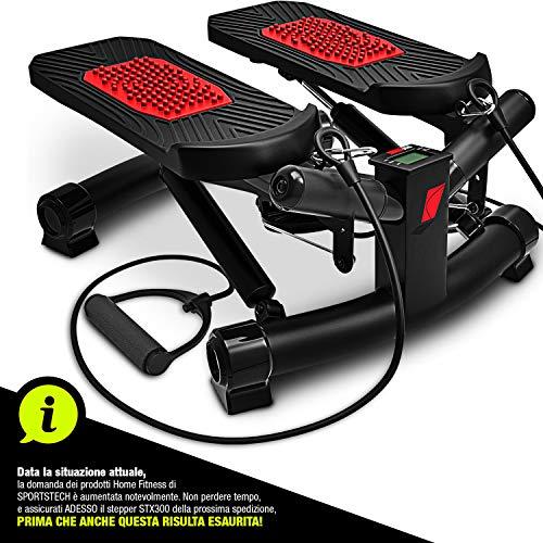 Sportstech Stepper Fitness STX300 2in1 con Elastici incl, Movimento Laterale e Rotante valido Sia per Principianti Che esperti, Ottimo per utilizzo a casa e con Display Multifunzione