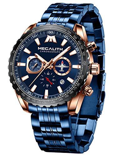 MEGALITH Herrenuhr Blau Chronographen Herren Armbanduhr Edelstahl Wasserdicht Uhren fur Männer Großes Designer Leuchtende Analog Datum