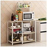 Naiflowers Kitchen Baker's Rack Utility Storage Shelf 35.5' Microwave Oven Stand Steel 4-Tier+3-Tier Shelf for Spice Rack Organizer Workstation Multi-function Storage Organizer Simple Assembly (White)