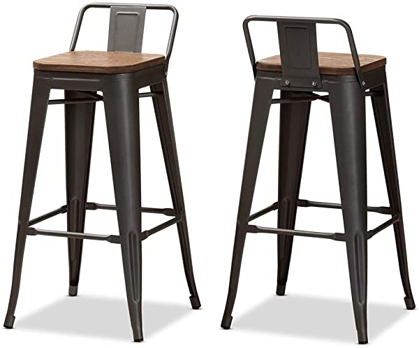 Barstool With Backrest In Gunmetal Gray And Oak Brown Set Of 2