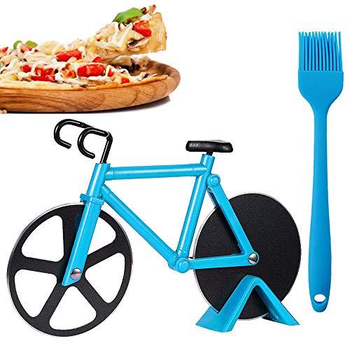 Coolon Pizzaschneider Fahrrad, Edelstahl Pizzaroller aus Antihaftbeschichtetem, mit Scharfem Schneiderad & Ständer & Backpinsel Silikon, für Party usw, Interessantes Weihnachtengeschenk