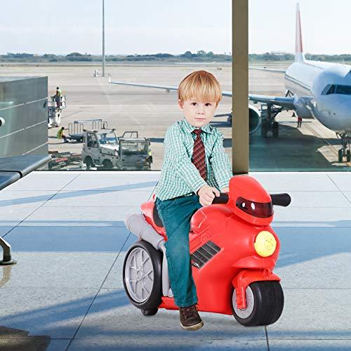 HOMCOM 4-in-1 Kinderkoffer Motorrad Kindergepäck Multifunktion Handgepäck mit Gurt zum Sitzen und Rollen mit Rädern Kunststoff Rot 52 x 25 x 34 cm 20 kg Belastbarkeit - 5