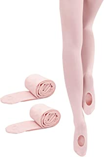 2 Pairs Girls' Ultra Soft Pro Dance Tights Ballet Transition Daily Student Tights (Toddler/Little Kid/Big Kid)