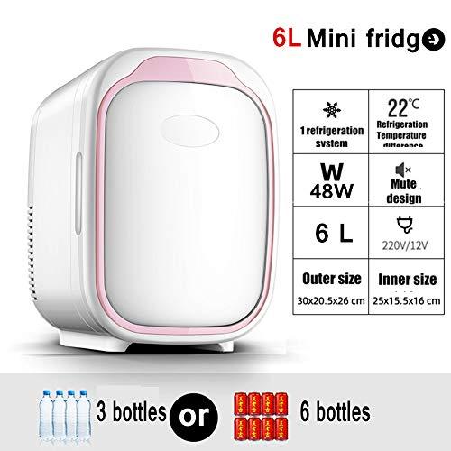 6L Portable Mini Fridge Freezer,Electric Fridge Portable Icebox Travel Fridge,Mini Freezer Dual-Use Car/Home Hot/Cold Family Small Refrigerator,Rosado,Home Use