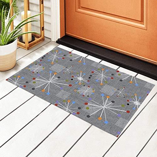 Mid Century Modern Stars Clocks Gray Entrance PVC Doormat with Non-Slip Waterproof Backing, Floor Mats for Outdoor Door Kitchen Bathroom Indoor 40 X 60cm