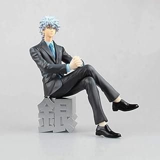 LF-YGJ Estatua de Anime Anime Gintama Sakata Yinshi Gafas Traje de Negocios Sentado PVC Figura de acción Modelo Chico Guap...