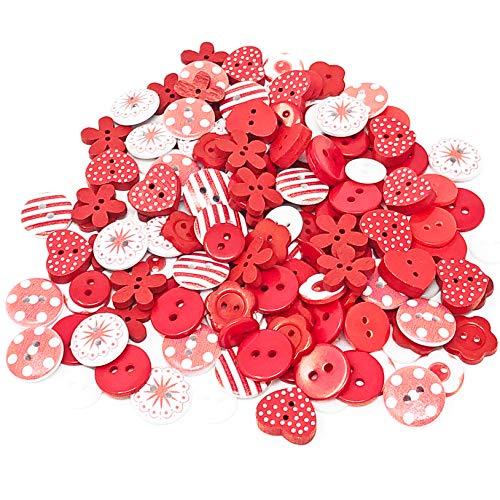 Knöpfe-Mix rot/weiß, Holz, Acryl und Harz, für Kartenverzierungen, 150 Stück