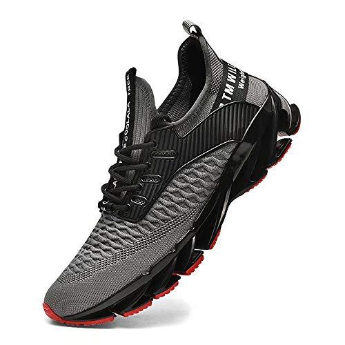 FUSHITON Sportschuhe Herren Laufschuhe Damen Turnschuhe Freizeitschuhe Atmungsaktiv Sneakers Mode Straßenlaufschuhe, Grau-c, 45 EU