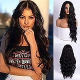 Peluca larga ondulada negra para mujer, de 24 pulgadas, parte media, pelucas sintéticas para mujeres negras, pelo largo, negro, aspecto natural, fiesta diaria (negro natural)