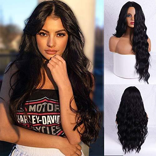 Perruque noire ondulée longue et ondulée pour femme - 61 cm - Raie au milieu - Cheveux longs noirs - Aspect naturel - Pour une fête quotidienne - Noir naturel