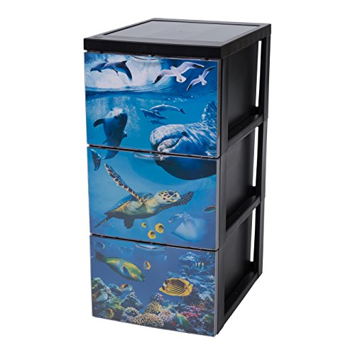 Iris Design Schubladencontainer mit 3 Schubladen, Plastik, Ozean, groß
