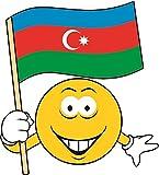 U24 Aufkleber Smily Aserbaidschan Fahne Flagge Autoaufkleber Sticker Konturschnitt