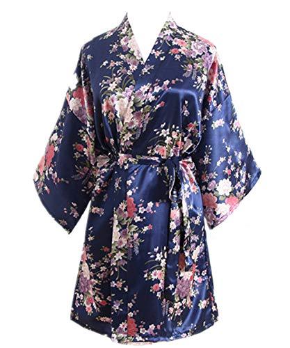 DELEY Donna Abito da Sposa Abito da Sposa Abito da Sposa Abito da Sposa Kimono Vestiario da Notte Accappatoio Corto Marina Militare