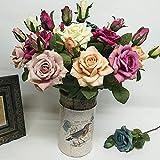 JinYiZhaoMing Grandes 6 paquetes de flores artificiales, flores artificiales decorativas, flores artificiales al aire libre, ramo de boda a granel para decoración del hogar, jardín, arreglo floral