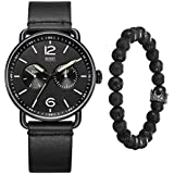 ROSHT Men's Chronograph Watch Black Leather Band G185010BKGT