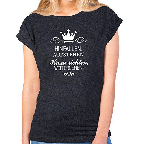 JUNIWORDS Damen T-Shirt -Hinfallen, Aufstehen, Krone richten, weitergehen. - große Auswahl an Motiven - Größe: M - Farbe: Anthrazit