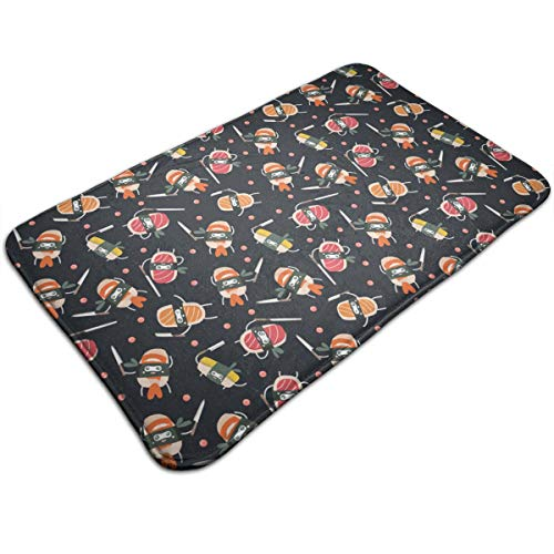 DIDIDI Sushi Knife Cute Japanese Best Black Throw Area Ground Mat Restroom Kitchen Bathroom Door Entryway Accent Floor Party Carpet Outside Set Decor Welcome Rug Sign Decorations Ornament
