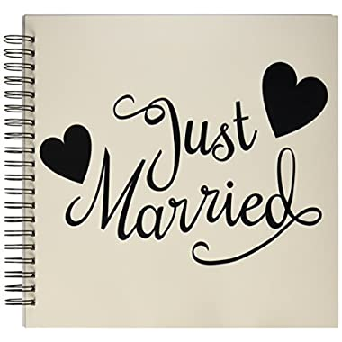 3dRose db_194330_2 Just Married. White & Black. Memory Book, 12 by 12