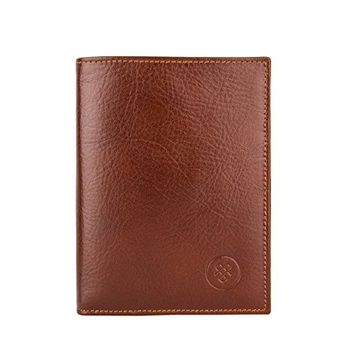 Maxwell Scott Men's Handcrafted Leather Card Wallet - Salerno Tan