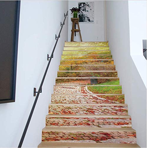 LIZHIOO Treppenaufkleber Herbstlaub 3D Aufkleber Treppe Entfernbare wasserdichte Aufkleber Wandaufkleber Dekorative Wandaufkleber (100cm*18cm) 6pcs